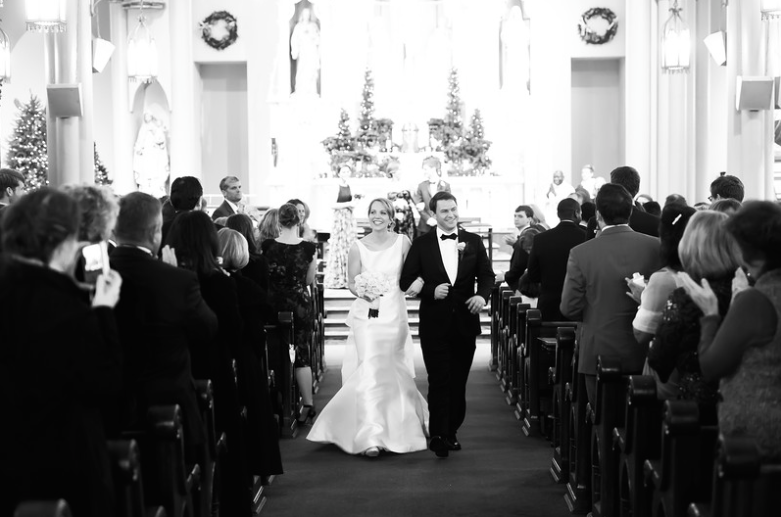 Longue Vue Club Pittsburgh Bride and Groom Walking Down Aisle
