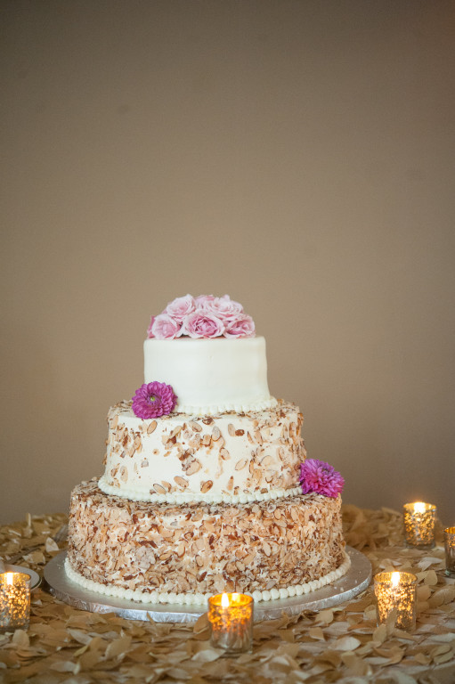 The Club at Nevillewood Wedding Reception: Rustic Wedding Cake with Pink Flowers