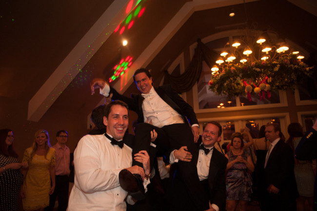 The Club at Nevillewood Wedding Reception: Groom Celebrating With Groomsmen
