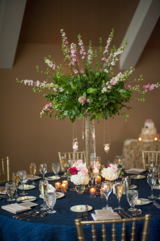 The Club at Nevillewood Wedding Reception: Tall Floral Centerpiece with Tealight Candles