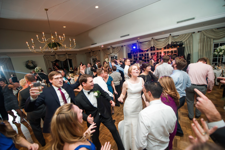 Longue Vue Club Wedding Reception: Newlyweds Having a Blast