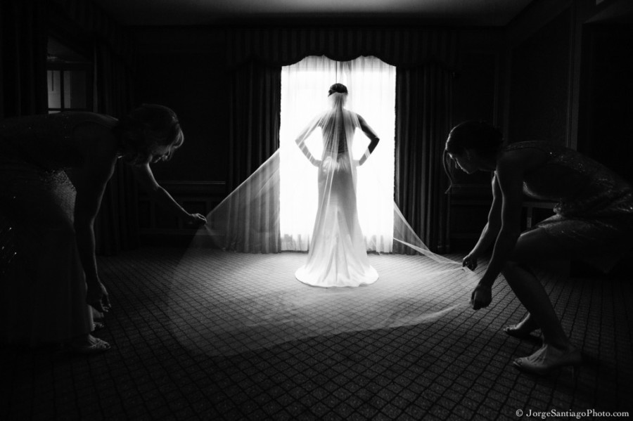 Duquesne University Ballroom Wedding - Maid of Honor Arranging Veil
