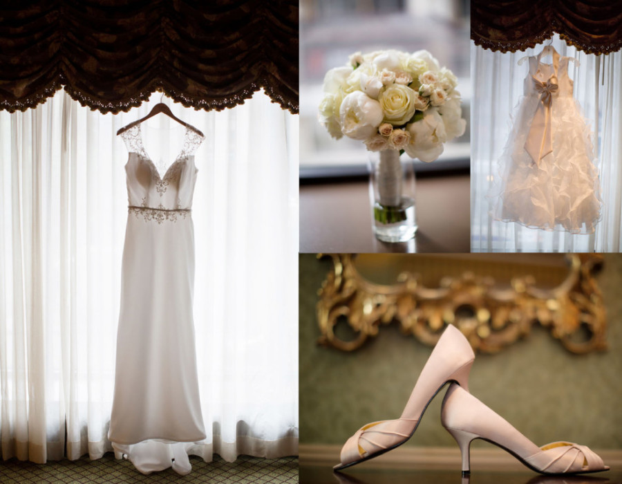 Duquesne University Ballroom Wedding - White Gown with Pink Satin Heels
