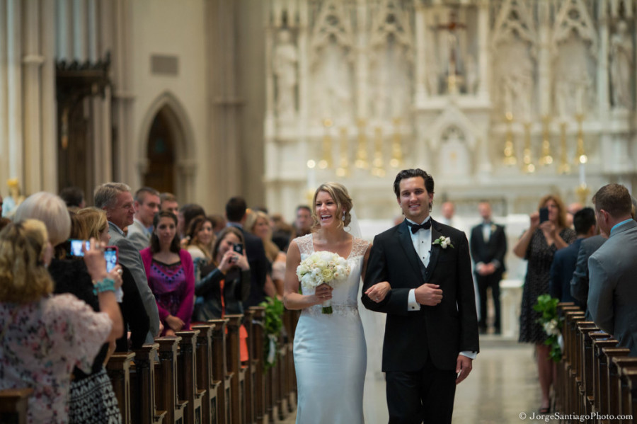 Duquesne University Ballroom Wedding - Bride and Groom Leave Cathedral