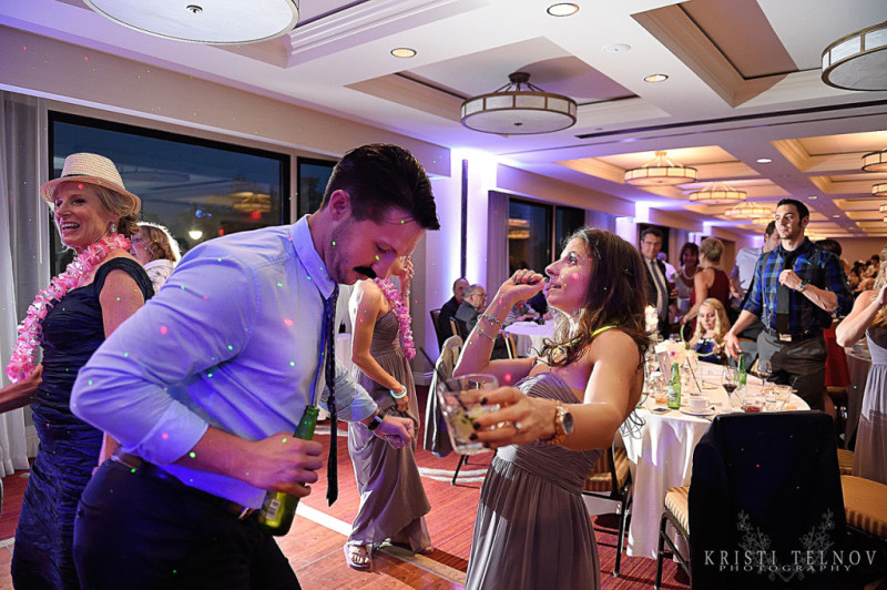 Renaissance Hotel Pittsburgh Wedding: Couple Partying