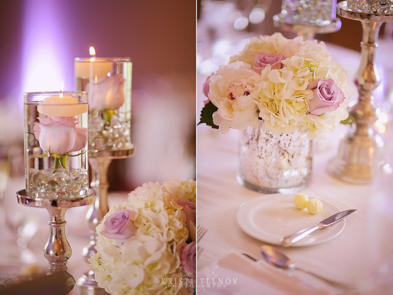 Renaissance Hotel Pittsburgh Wedding Reception: Pink and White Floral Arrangements