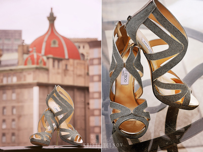 Renaissance Hotel Pittsburgh Wedding: Bride's Bejeweled High Heels