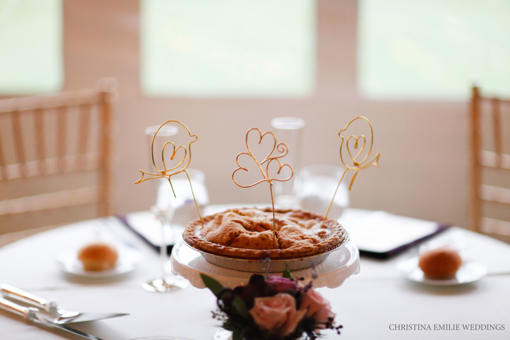 Rustic Acres Farm Pittsburgh Barn Wedding Reception Pies Metallic Cake Toppers