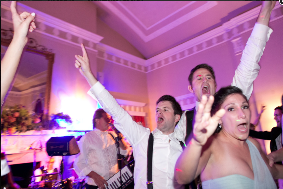 Fox Chapel Golf Club Pittsburgh Wedding Guests Singing with Live Band at Reception