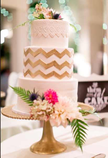 Fox Chapel Golf Club Pittsburgh Whimsical Gold Chevron Wedding Cake
