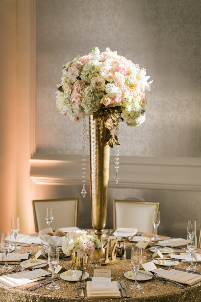 Hotel Monaco Wedding Gold Vase Centerpiece