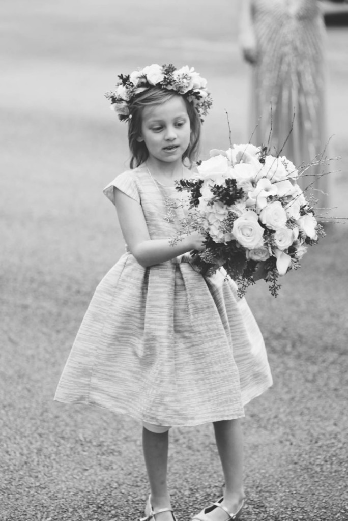 Country Club Pittsburgh Wedding Flower Girl with Bridal Bouquet