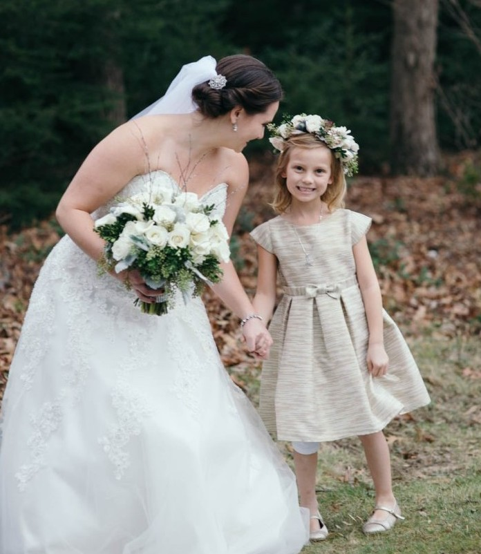 Country Club Pittsburgh Wedding Bride Posing with Flower Girl
