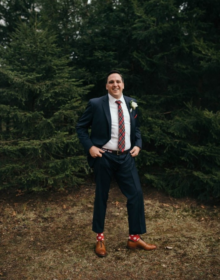 Country Club Pittsburgh Wedding Groom Posing Outdoors