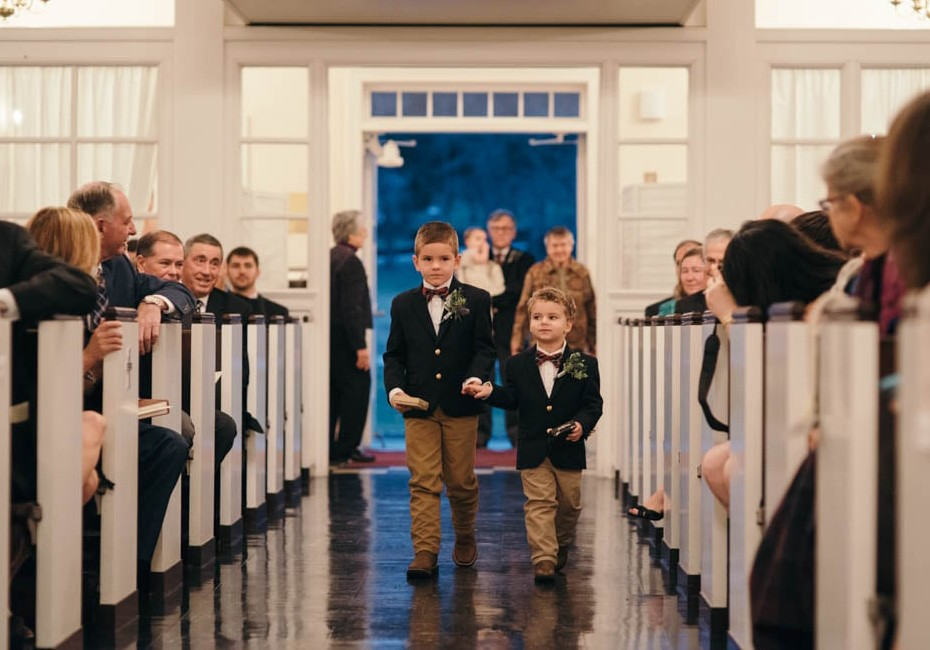 Country Club Pittsburgh Wedding Ring Bearers Walking Ceremony