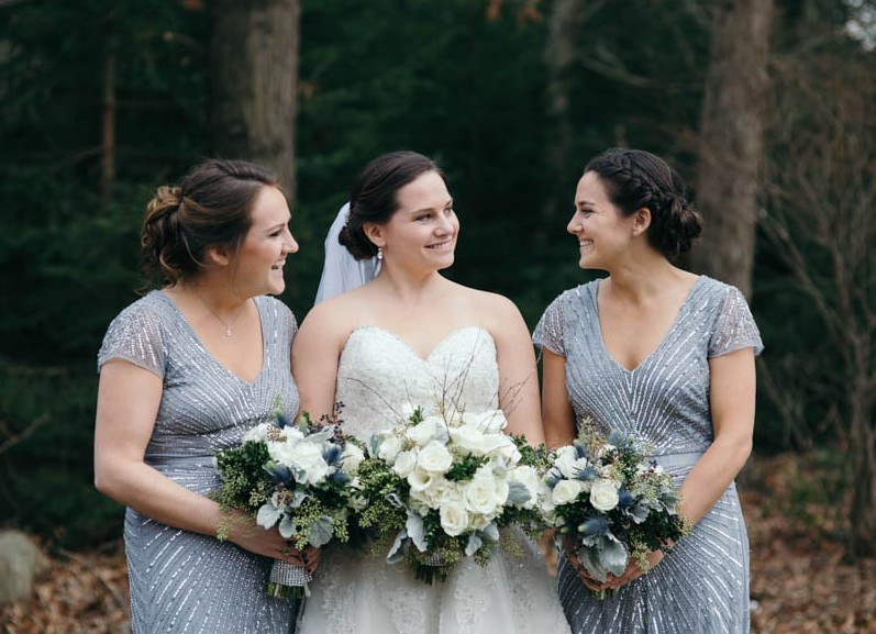Country Club Pittsburgh Wedding Bride and Two Sisters