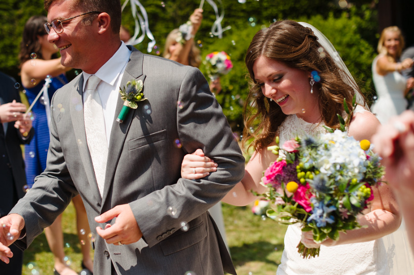 Seven Springs Pittsburgh Wedding Recessional Bubbles