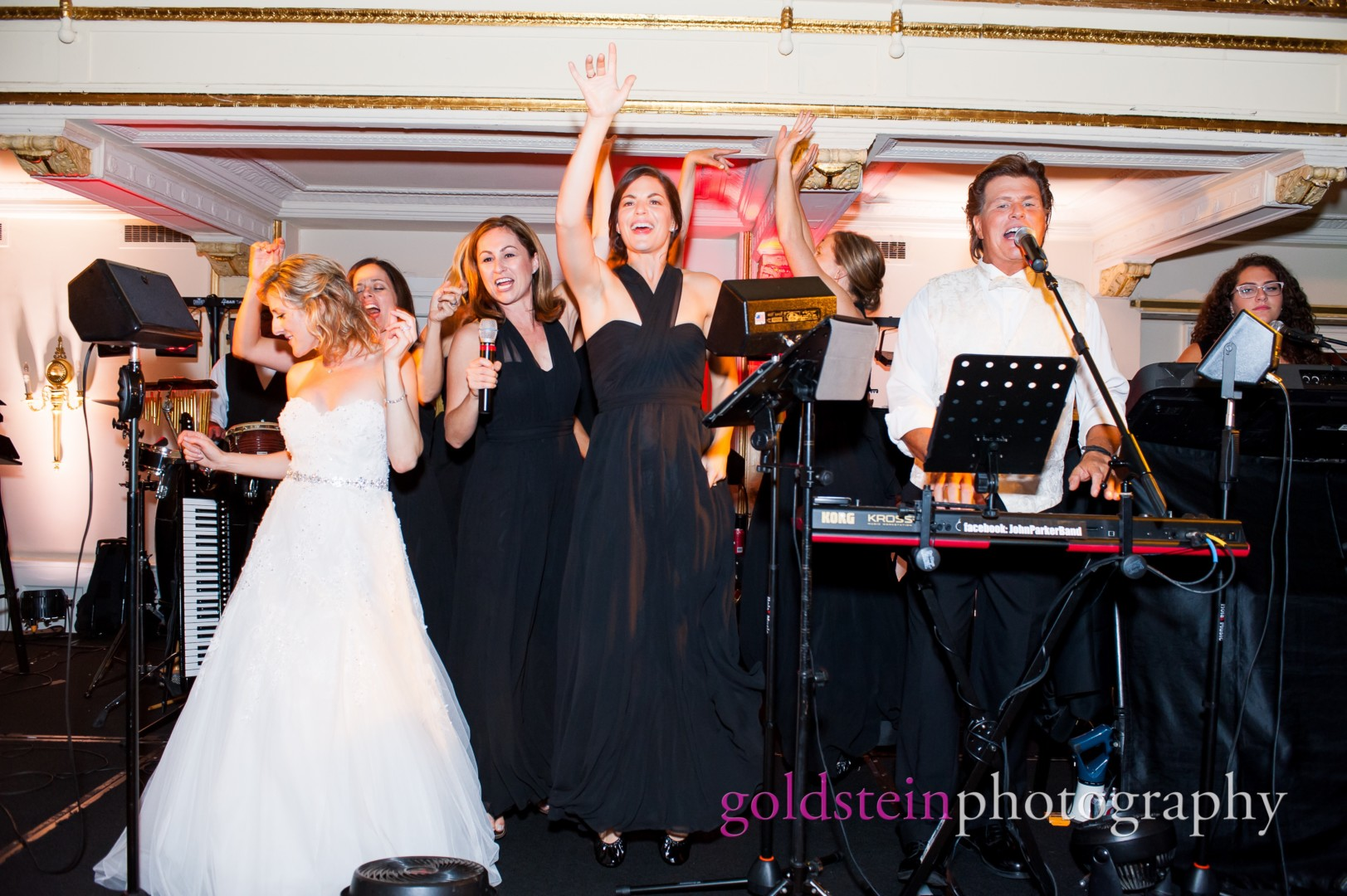 John Parker Band @ William Penn Hotel with Bridesmaids and Bride on stage with band