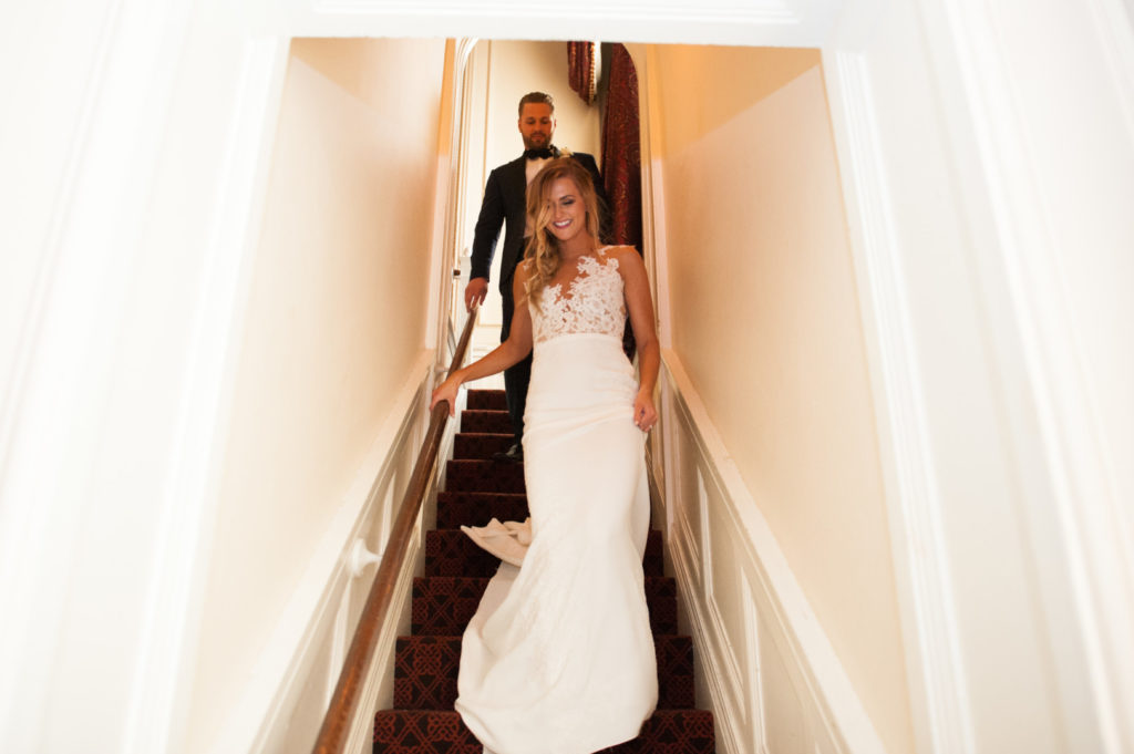 William Penn Wedding Bride and Groom on Stairs