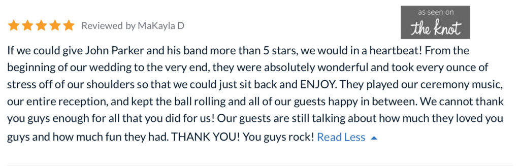 Wedding Review John Parker Band